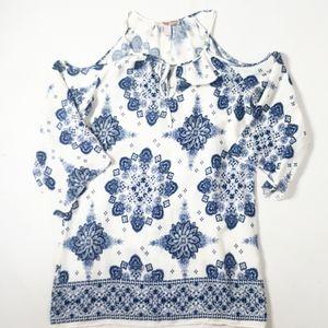 Forever21 floral peep shoulder dress sz small